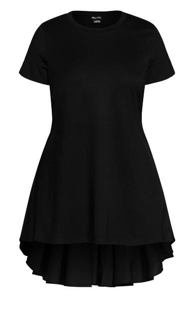 Hi Lo Pleat Top - black