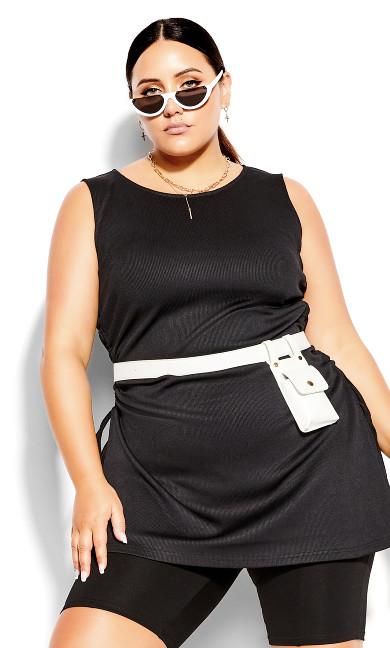 Longline Knit Top - black