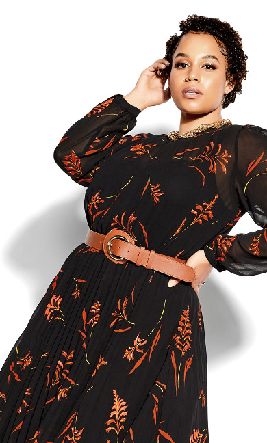 Leaf Floral Dress - black