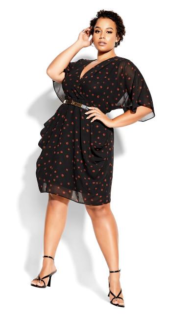 Kimono Spot Dress - black