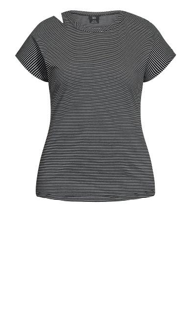 Distressed Stripe Tee - black stripe