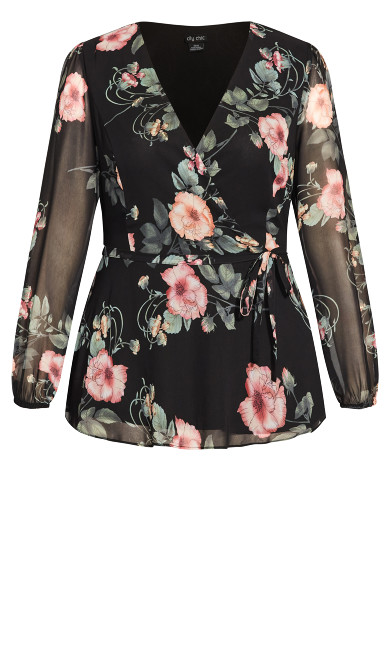 Vineyard Floral Top - black