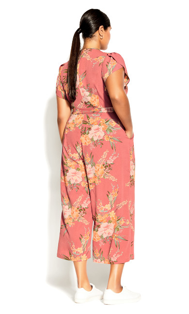 Grand Floral Jumpsuit - guava