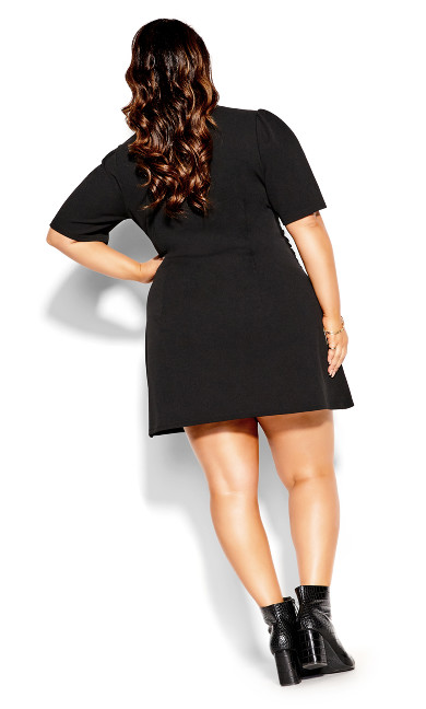 Tie Point Dress - black