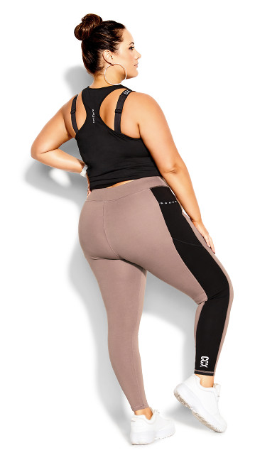 Splice Full Length Legging - mocha