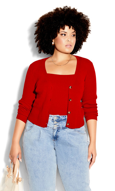 Ribbed Cardigan Set - red