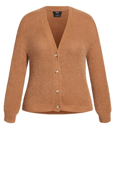 Fluffy Love Cardigan - caramel