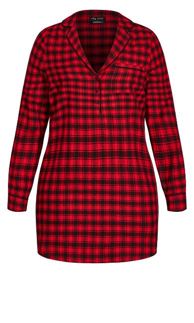 Check Night Shirt - red