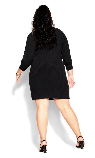 Balloon Knit Dress - black