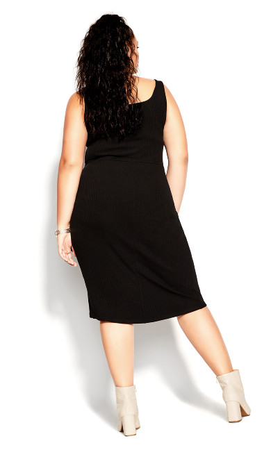 Obsession Rib Dress - black
