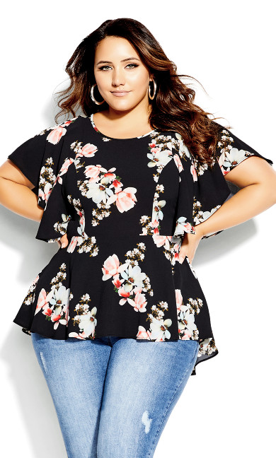 Romantic Lotus Top - black
