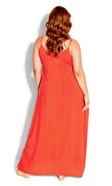 V Neck Maxi Dress - papaya