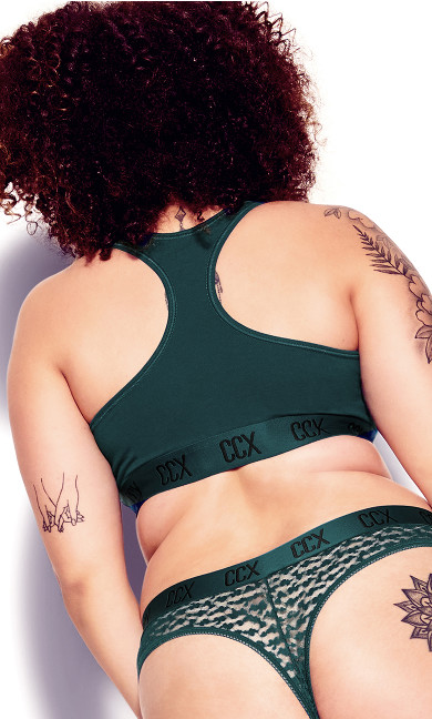 CCX Animal Lace Thong - emerald
