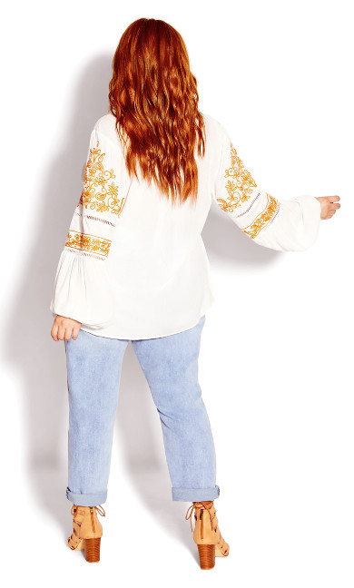 Spirit Embroidered Top - ivory