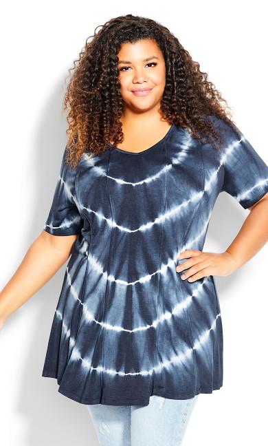 Plus Size Swing Panel Print Tunic - navy tie dye