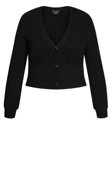 Sassy Knit Cardigan  - black