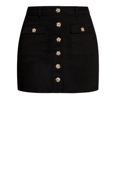Utility Button Skirt - black