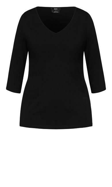 Sweet 3/4 Sleeve Top - black