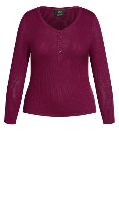 Button Long Sleeve Top - berry