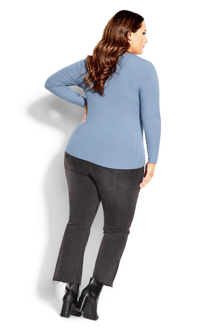 Button Long Sleeve Top - steel grey