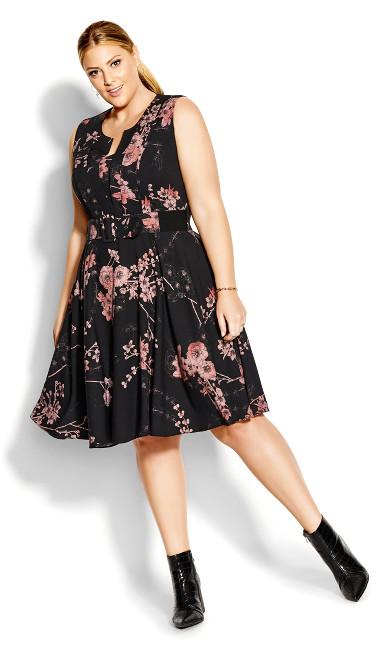 Bold Blossom Dress - black