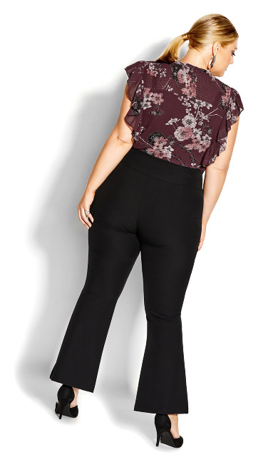 Shirred Blossom Top - bordeaux