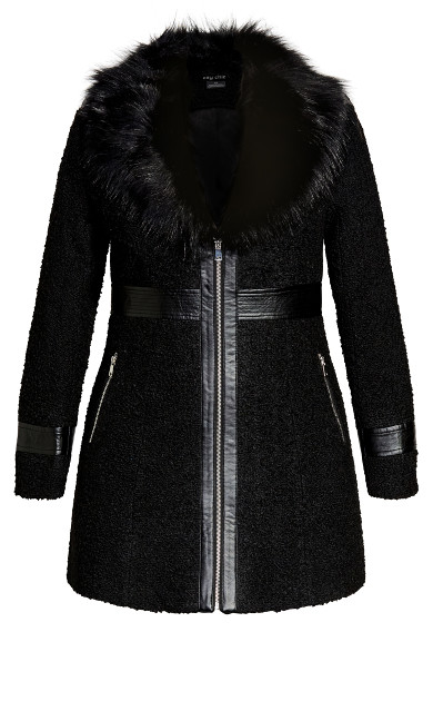 Faux Fur Love Coat - black
