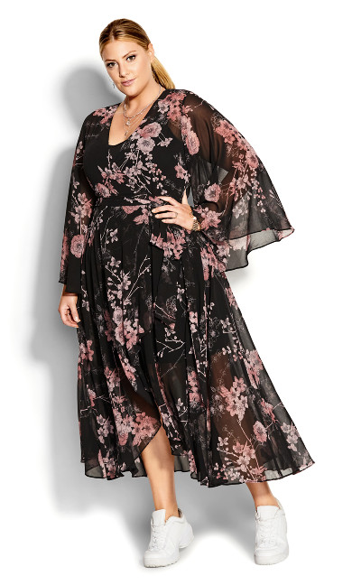 Bold Blossom Maxi Dress - black