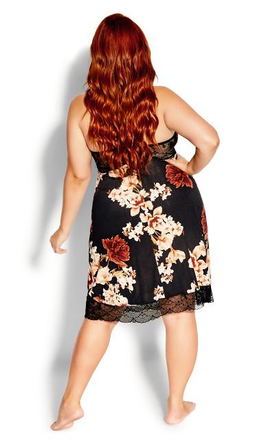 Cinnamon Floral Chemise - black