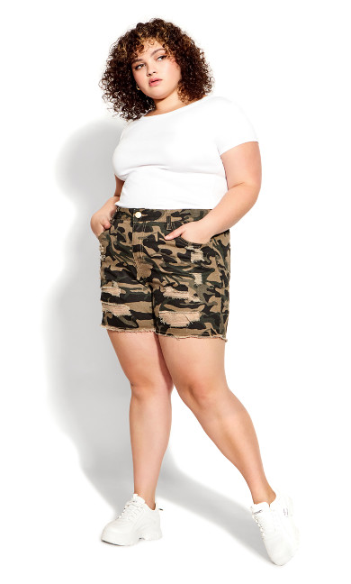 Plus Size Kiera Rip Short - camo