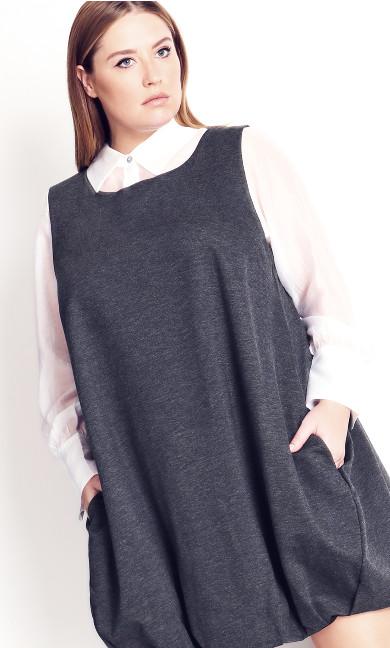 Bubble Dress - charcoal marle