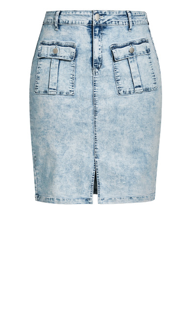 Midi Pockets Skirt - light wash
