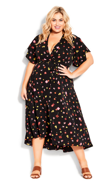 Vivian Wrap Maxi Dress - black floral