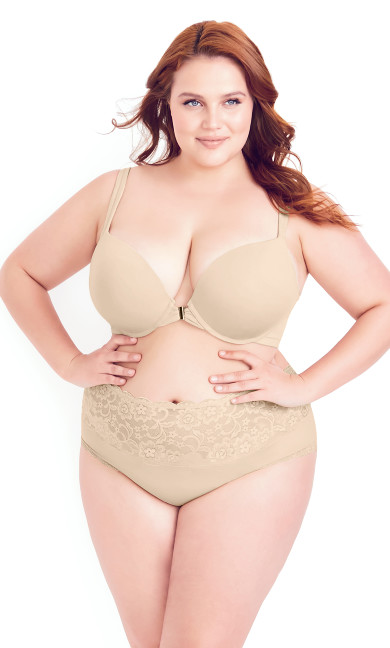 Smooth & Chic Front Close Cotton Push Up Bra - latte