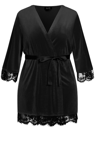 Velour Robe - black