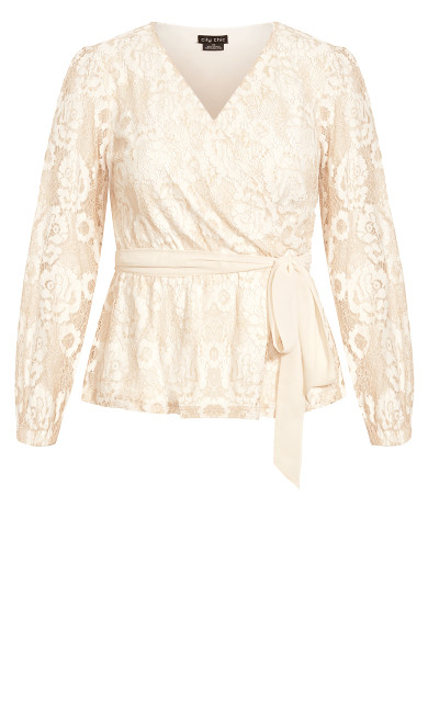 Lace Fly Away Top - beige