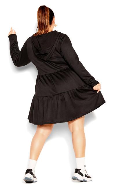 Hoodie Tiered Dress - black