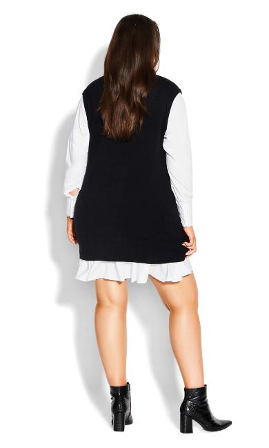 Knit Vest Dress - black