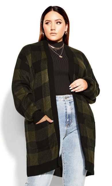 Longline Check Cardigan - khaki