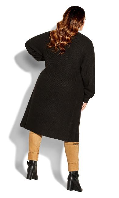 Longline Button Cardigan - black