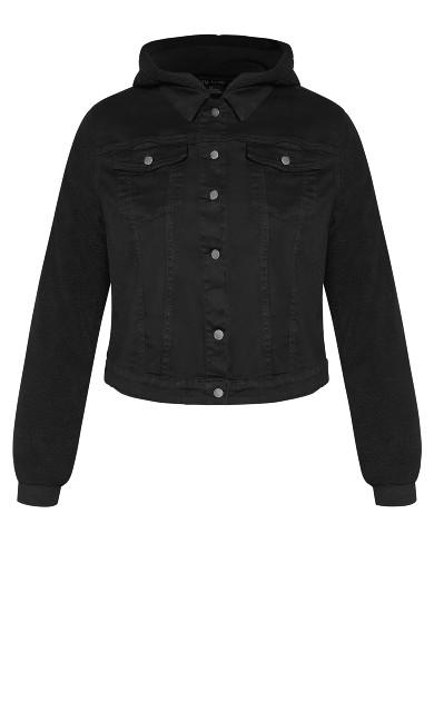 Shearling Denim Jacket - washed black