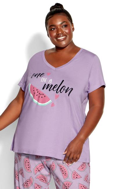 Short Sleeve Sleep Top - lilac melon