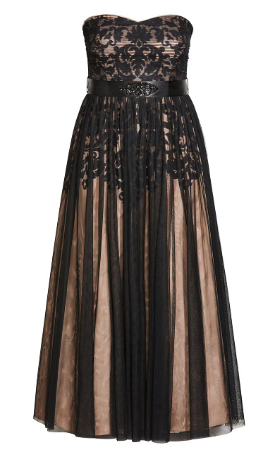 Embroidered Tulle Maxi Dress - black