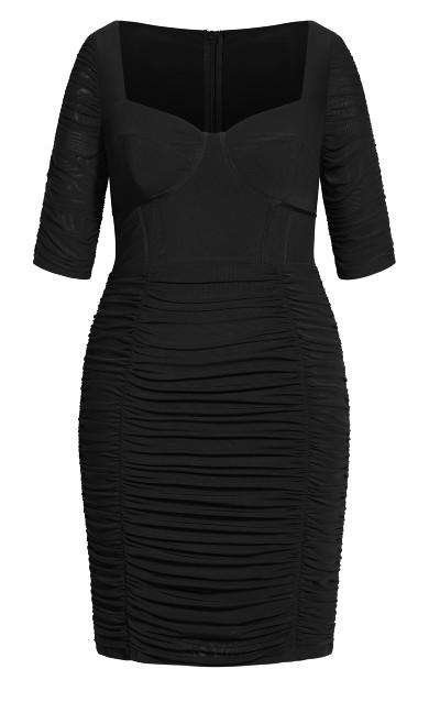 Bustier Elbow Sleeve Dress - black