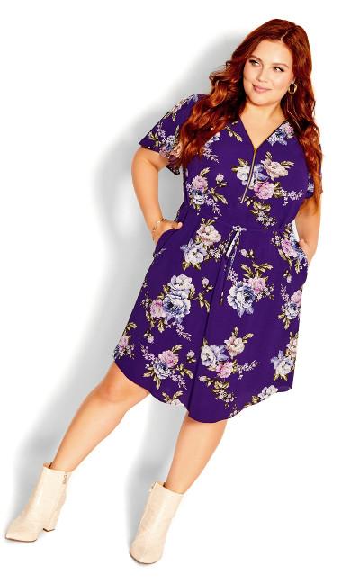 Wild Floral Short Sleeve Dress - violet