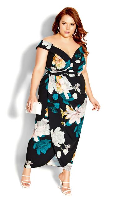 Floral Glow Maxi Dress - black