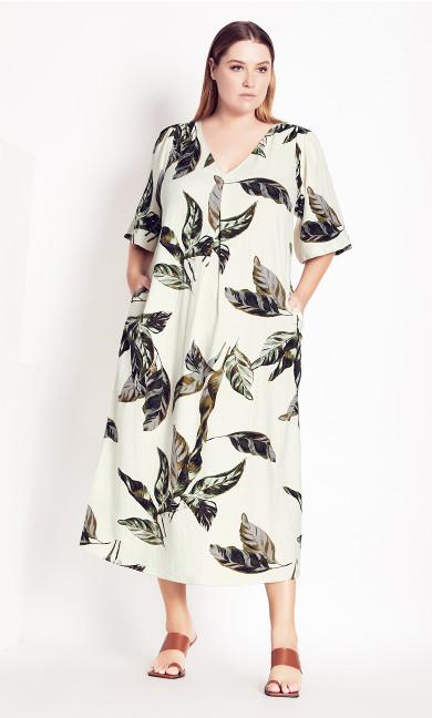 Palm Short Sleeve Dress - ecru