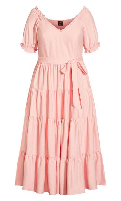 Puff Sleeve Maxi Dress - pink