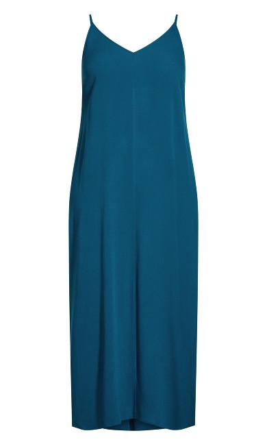 Simple V Neck Maxi Dress - poseidon