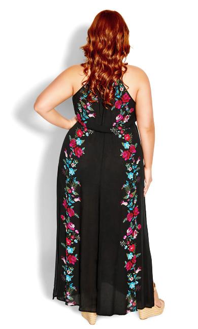Border Folklore Maxi Dress - black